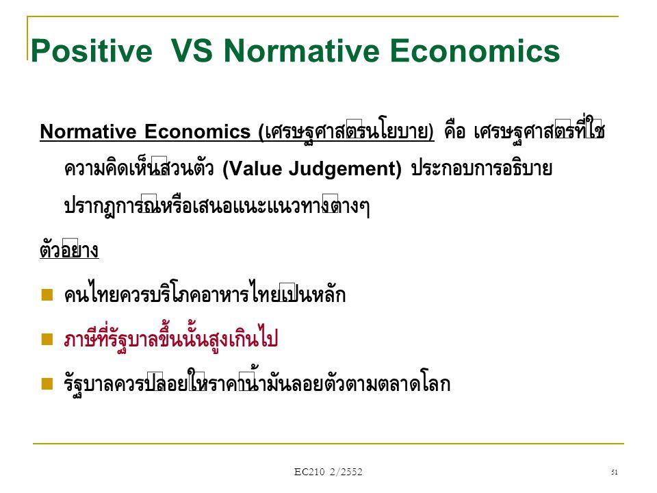 EC210 2/2552 Normative Economics ( เศรษฐศาสตร์นโยบาย ) คือ เศรษฐศาสตร์ที่ใช้ ความคิดเห็นส่วนตัว (Value Judgement) ประกอบการอธิบาย ปรากฎการณ์หรือเสนอแน