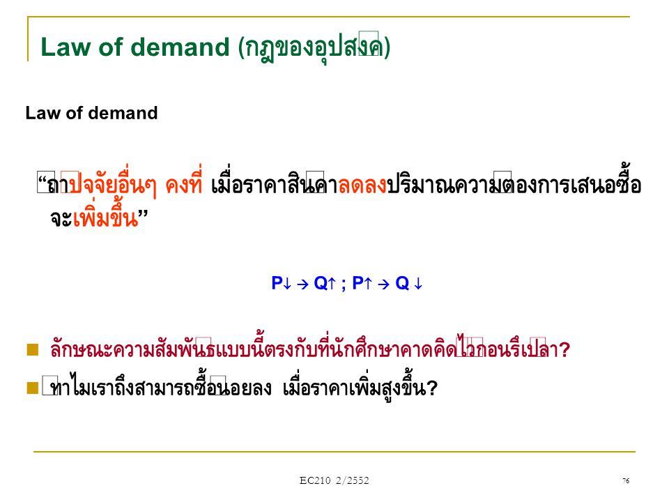 """EC210 2/2552 Law of demand """" ถ้าปัจจัยอื่นๆ คงที่ เมื่อราคาสินค้าลดลงปริมาณความต้องการเสนอซื้อ จะเพิ่มขึ้น """" P   Q  ; P   Q   ลักษณะความสัมพันธ"""