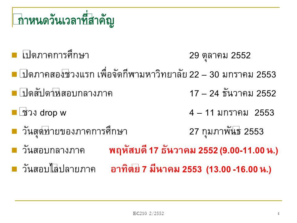 สมมติว่า ผู้ขายเผชิญกับราคาตลาดเท่ากับ 3 $ ต่อหน่วย ราคาต่อหน่วย (P) ปริมาณขาย (Q) รายรับรวม (TR) รายรับเฉลี่ย (AR) รายรับส่วนเพิ่ม (MR) 300-- 31333 32633 33933 341233 3………… 3133933 EC210 2/2552 279