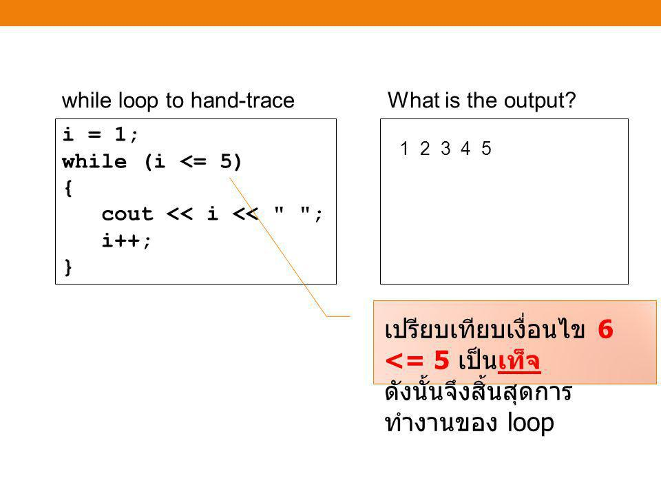 while loop to hand-traceWhat is the output? i = 1; while (i <= 5) { cout << i <<