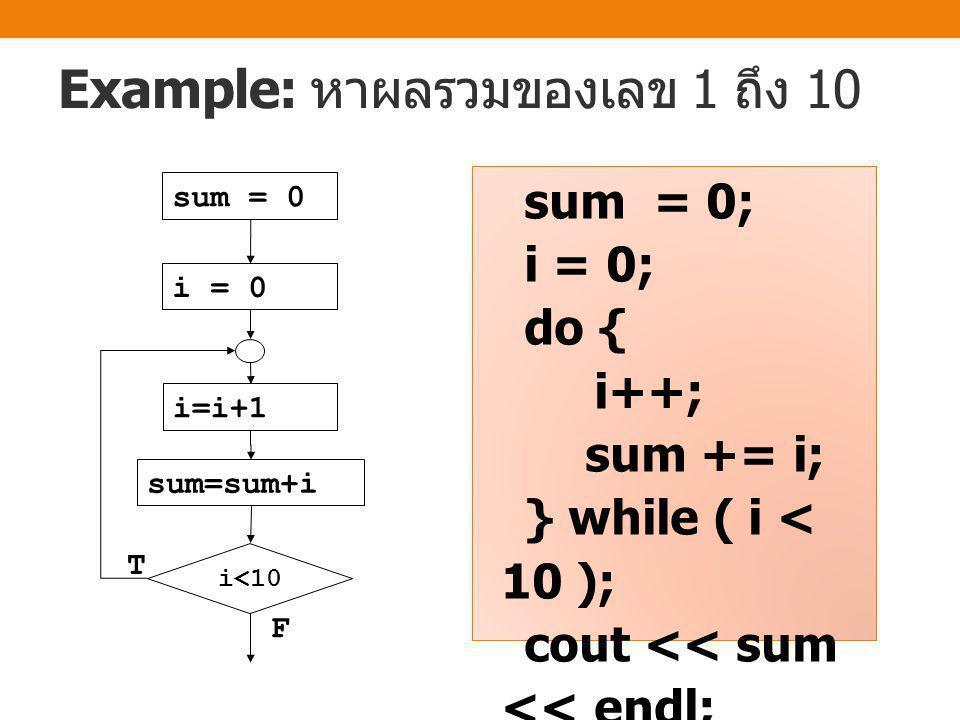 do-while loop do { statements } while (condition); ทำงานคำสั่งที่อยู่ ภายใต้ปีกกาของ คำสั่ง do-while ก่อนอย่างน้อย 1 รอบ แล้วพิจารณา เงื่อนไข ถ้าเงื่อนไข เป็นจริง ให้วนทำ คำสั่งที่อยู่ภายใต้ ปีกกาของคำสั่ง do-while จนกว่า เงื่อนไขจะเป็นเท็จ จึงจะจบการทำงาน และออกจาก loop