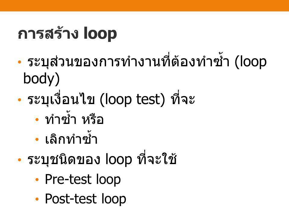 ส่วนประกอบของคำสั่งแบบวนซ้ำ • ส่วนของการตรวจสอบ (loop test) เป็นเงื่อนไขเพื่อทดสอบว่าจะทำวนซ้ำอีก หรือไม่ • ส่วนของการทำวนซ้ำ (loop body) เป็นชุดคำสั่งที่จะถูกดำเนินการ