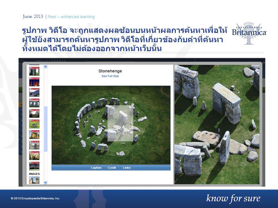 June 2013 | Peer – enhanced learning รูปภาพ วิดีโอ จะถูกแสดงผลซ้อนบนหน้าผลการค้นหาเพื่อให้ ผู้ใช้ยังสามารถค้นหารูปภาพ วิดีโอที่เกี่ยวข้องกับคำที่ค้นหา ทั้งหมดได้โดยไม่ต้องออกจากหน้าเว็บนั้น © 2013 Encyclopædia Britannica, Inc.
