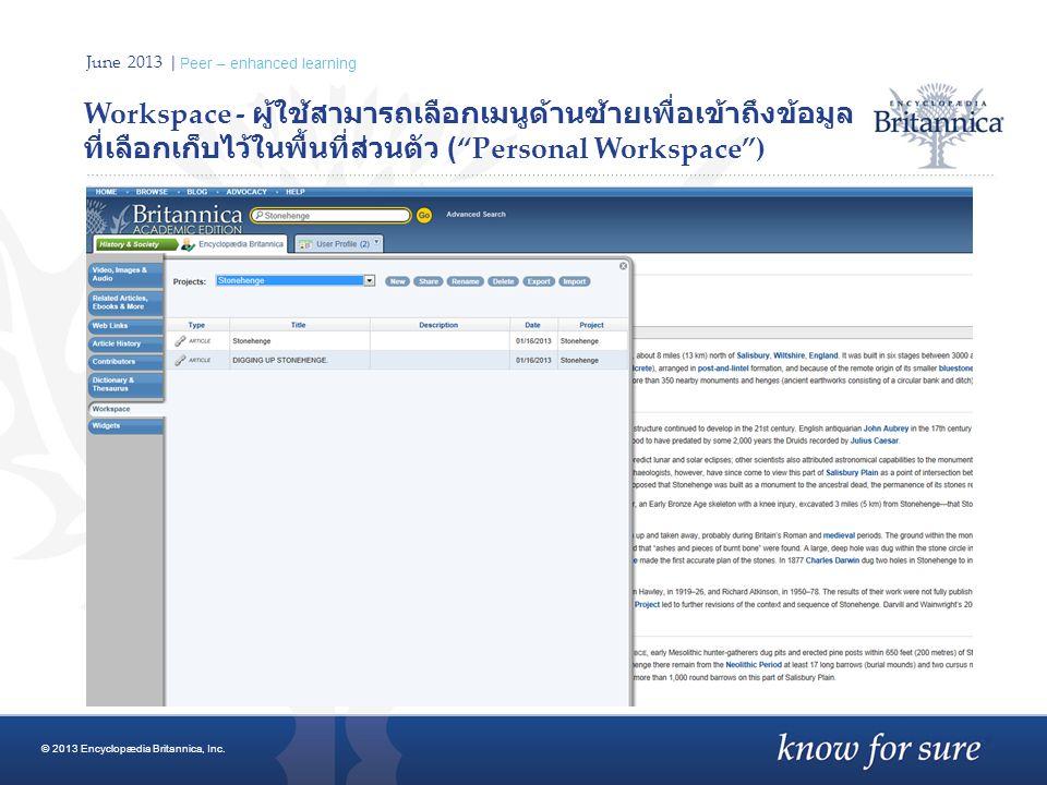 June 2013 | Peer – enhanced learning Workspace - ผู้ใช้สามารถเลือกเมนูด้านซ้ายเพื่อเข้าถึงข้อมูล ที่เลือกเก็บไว้ในพื้นที่ส่วนตัว ( Personal Workspace ) © 2013 Encyclopædia Britannica, Inc.