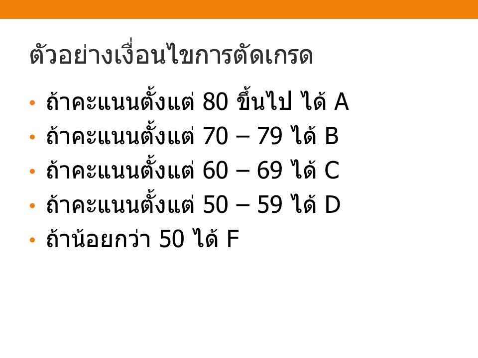 ตัวอย่าง score>=80 TF score>=70 FT Print A Print B score>=60 TF score>=50 T Print C Print D Print F F