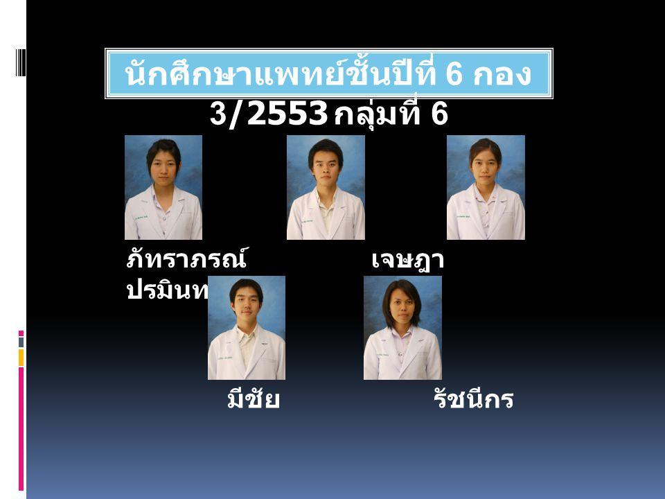 นักศึกษาแพทย์ชั้นปีที่ 6 กอง 3/2553 กลุ่มที่ 6 ภัทราภรณ์ เจษฎา ปรมินทร์ตรา มีชัย รัชนีกร