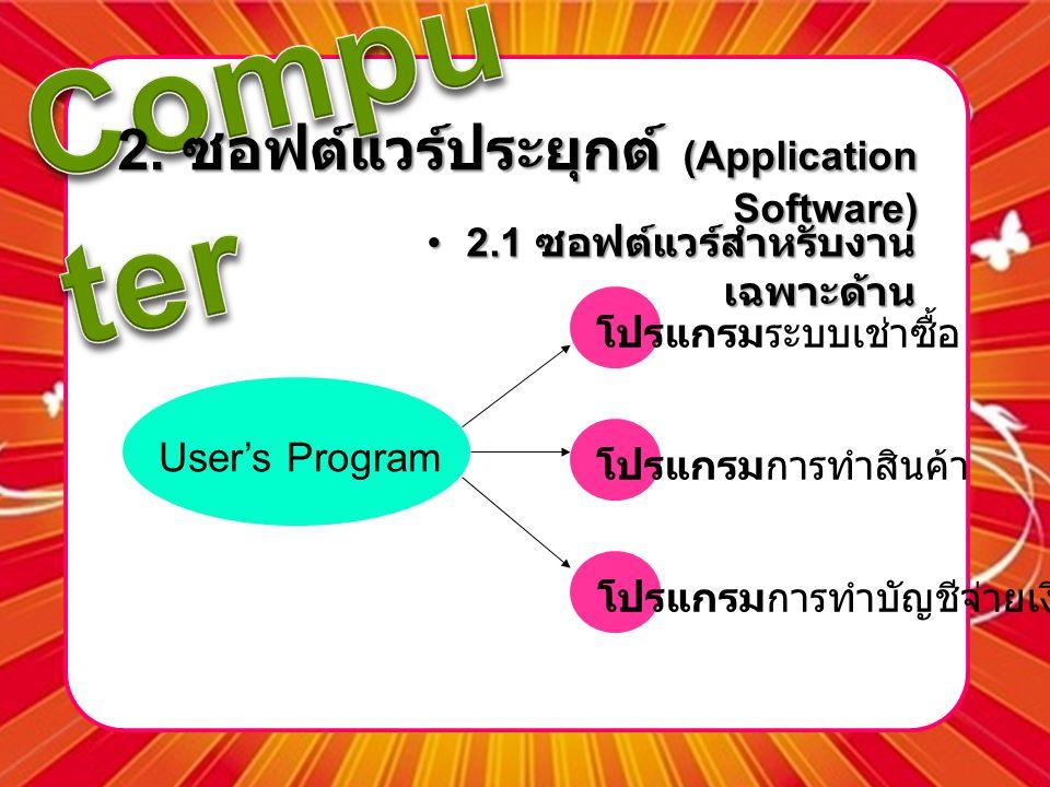 2. ซอฟต์แวร์ประยุกต์ (Application Software) •2.1 ซอฟต์แวร์สำหรับงาน เฉพาะด้าน โปรแกรมการทำบัญชีจ่ายเงินเดือน โปรแกรมระบบเช่าซื้อ โปรแกรมการทำสินค้า Us