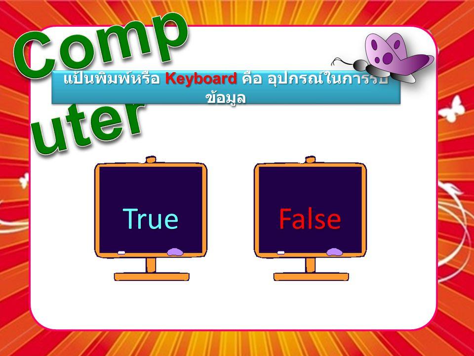 แป้นพิมพ์หรือ Keyboard คือ อุปกรณ์ในการรับ ข้อมูล TrueFalse