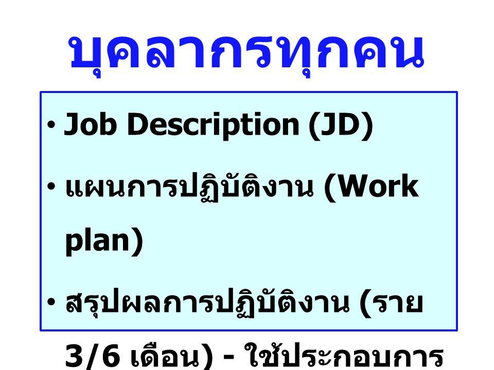 บุคลากรทุกคน •Job Description (JD) • แผนการปฏิบัติงาน (Work plan) • สรุปผลการปฏิบัติงาน ( ราย 3/6 เดือน ) - ใช้ประกอบการ ประเมินผลฯ