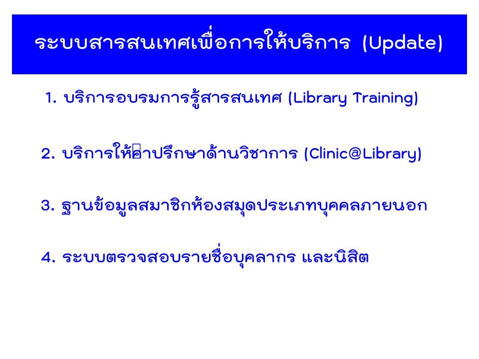 ระบบสารสนเทศเพื่อการให้บริการ (Update) 1. บริการอบรมการรู้สารสนเทศ (Library Training) 4. ระบบตรวจสอบรายชื่อบุคลากร และนิสิต 3. ฐานข้อมูลสมาชิกห้องสมุด