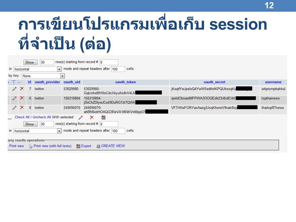 การเขียนโปรแกรมเพื่อเก็บ session ที่จำเป็น ( ต่อ ) • กดด้วยมือในครั้งแรก • เมื่อทำงานเป็นอัตโนมัติ 13 กด Allow เพื่อร้องขอ Access Token Access Token จะถูกเก็บไว้ใน session ของบราวเซอร์ lynx DB นำ Access Token ไป เรียกใช้ API ดึง Access Token ไปเก็บ ไว้ใน session ของบราวเซอร์ lynx