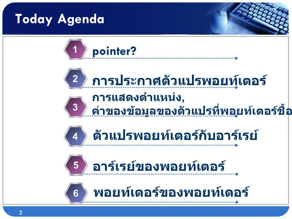 Today Agenda pointer? 1 การประกาศตัวแปรพอยท์เตอร์ 2 การแสดงตำแหน่ง, ค่าของข้อมูลของตัวแปรที่พอยท์เตอร์ชี้อยู่ 3 ตัวแปรพอยท์เตอร์กับอาร์เรย์ 4 2 อาร์เร