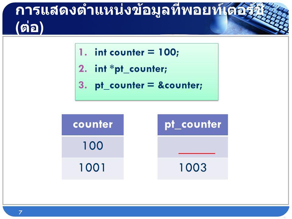 การแสดงตำแหน่งข้อมูลที่พอยท์เตอร์ชี้ ( ต่อ ) 1.int counter = 100; 2.int *pt_counter; 3.pt_counter = &counter; 1.int counter = 100; 2.int *pt_counter;