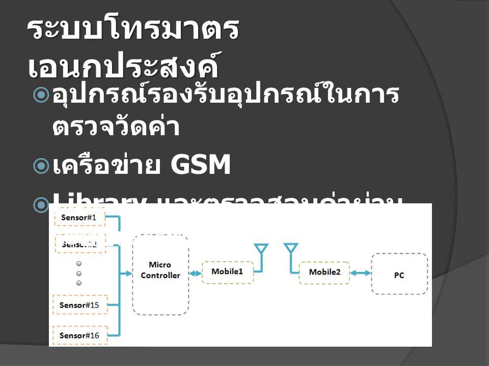 ระบบโทรมาตร เอนกประสงค์  อุปกรณ์รองรับอุปกรณ์ในการ ตรวจวัดค่า  เครือข่าย GSM  Library และตรวจสอบค่าผ่าน ระบบเครือข่าย