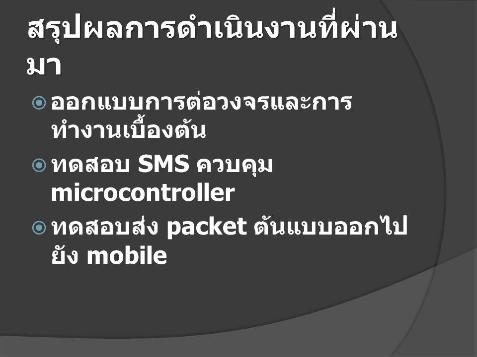 สรุปผลการดำเนินงานที่ผ่าน มา  ออกแบบการต่อวงจรและการ ทำงานเบื้องต้น  ทดสอบ SMS ควบคุม microcontroller  ทดสอบส่ง packet ต้นแบบออกไป ยัง mobile