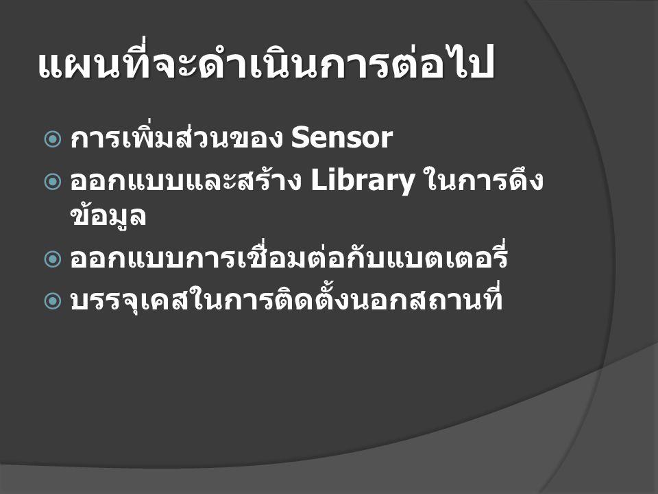 แผนที่จะดำเนินการต่อไป  การเพิ่มส่วนของ Sensor  ออกแบบและสร้าง Library ในการดึง ข้อมูล  ออกแบบการเชื่อมต่อกับแบตเตอรี่  บรรจุเคสในการติดตั้งนอกสถา