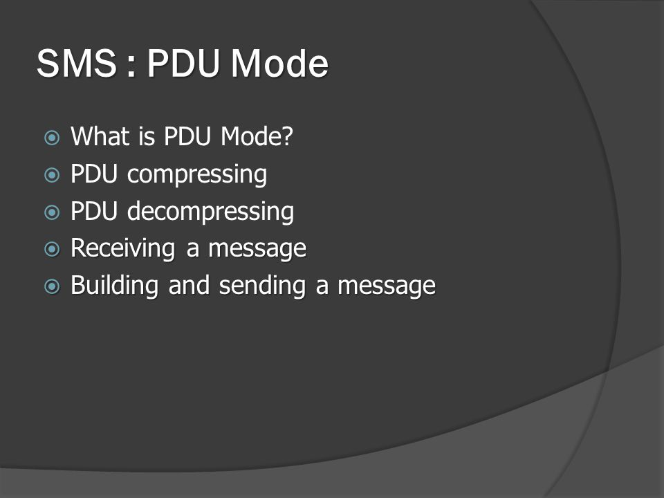 What is PDU Mode.