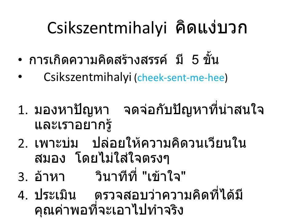 Csikszentmihalyi คิดแง่บวก • การเกิดความคิดสร้างสรรค์ มี 5 ขั้น • Csikszentmihalyi (cheek-sent-me-hee) 1. มองหาปัญหา จดจ่อกับปัญหาที่น่าสนใจ และเราอยา