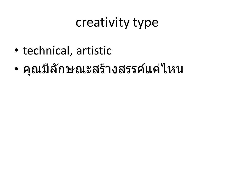 creativity type • technical, artistic • คุณมีลักษณะสร้างสรรค์แค่ไหน