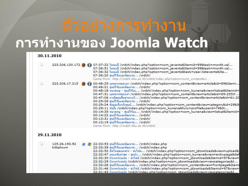 ตัวอย่างการทำงาน การทำงานของ Joomla Watch
