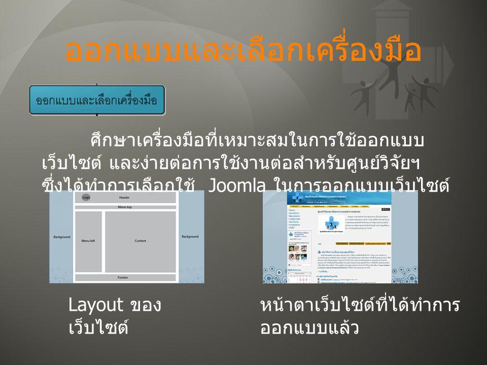 ออกแบบและเลือกเครื่องมือ Layout ของ เว็บไซต์ ศึกษาเครื่องมือที่เหมาะสมในการใช้ออกแบบ เว็บไซต์ และง่ายต่อการใช้งานต่อสำหรับศูนย์วิจัยฯ ซึ่งได้ทำการเลือกใช้ Joomla ในการออกแบบเว็บไซต์ หน้าตาเว็บไซต์ที่ได้ทำการ ออกแบบแล้ว