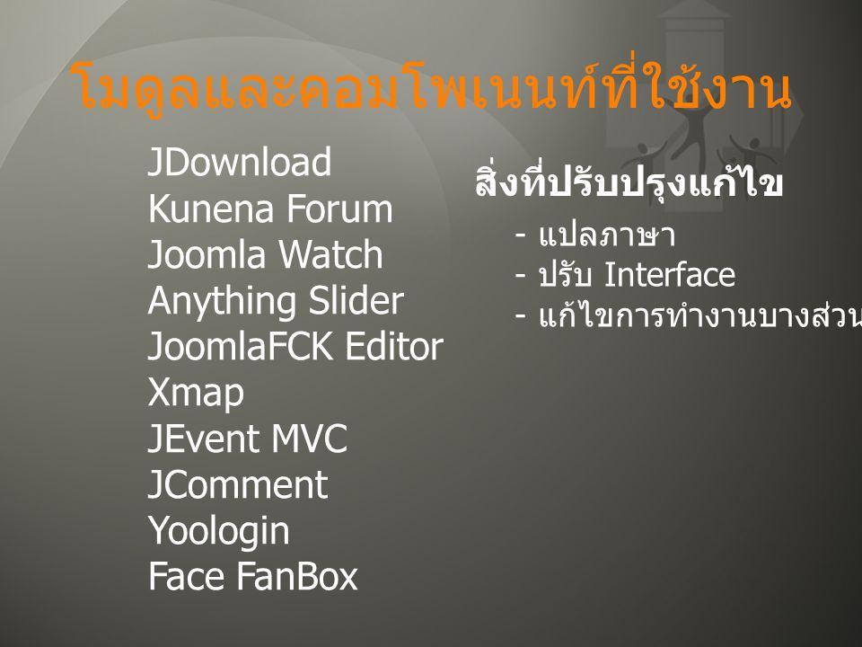 โมดูลและคอมโพเนนท์ที่ใช้งาน JDownload Kunena Forum Joomla Watch Anything Slider JoomlaFCK Editor Xmap JEvent MVC JComment Yoologin Face FanBox สิ่งที่ปรับปรุงแก้ไข - แปลภาษา - ปรับ Interface - แก้ไขการทำงานบางส่วน