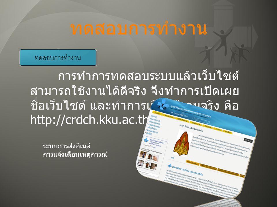 ทดสอบการทำงาน การทำการทดสอบระบบแล้วเว็บไซต์ สามารถใช้งานได้ดีจริง จึงทำการเปิดเผย ชื่อเว็บไซต์ และทำการเปิดใช้งานจริง คือ http://crdch.kku.ac.th ระบบการส่งอีเมล์ การแจ้งเตือนเหตุการณ์