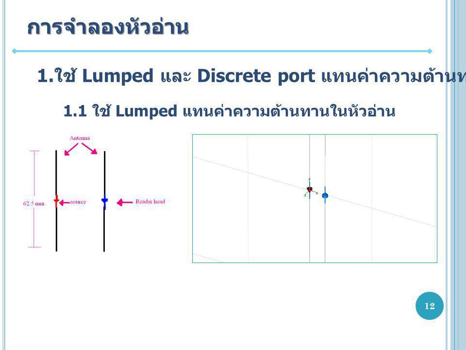 1. ใช้ Lumped และ Discrete port แทนค่าความต้านทานในหัวอ่าน การจำลองหัวอ่าน 1.1 ใช้ Lumped แทนค่าความต้านทานในหัวอ่าน 12