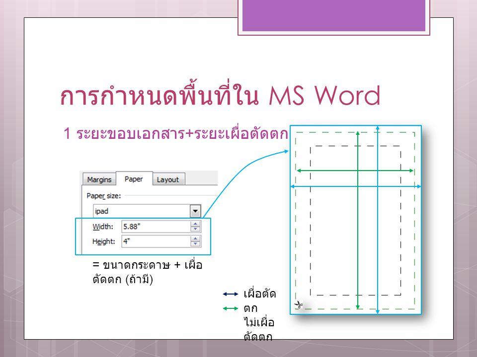 การกำหนดพื้นที่ใน MS Word 1 ระยะขอบเอกสาร + ระยะเผื่อตัดตก = ขนาดกระดาษ + เผื่อ ตัดตก ( ถ้ามี ) เผื่อตัด ตก ไม่เผื่อ ตัดตก