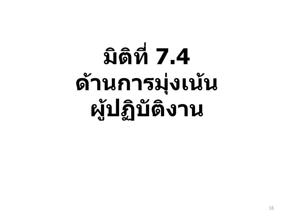 มิติที่ 7.4 ด้านการมุ่งเน้น ผู้ปฏิบัติงาน 18