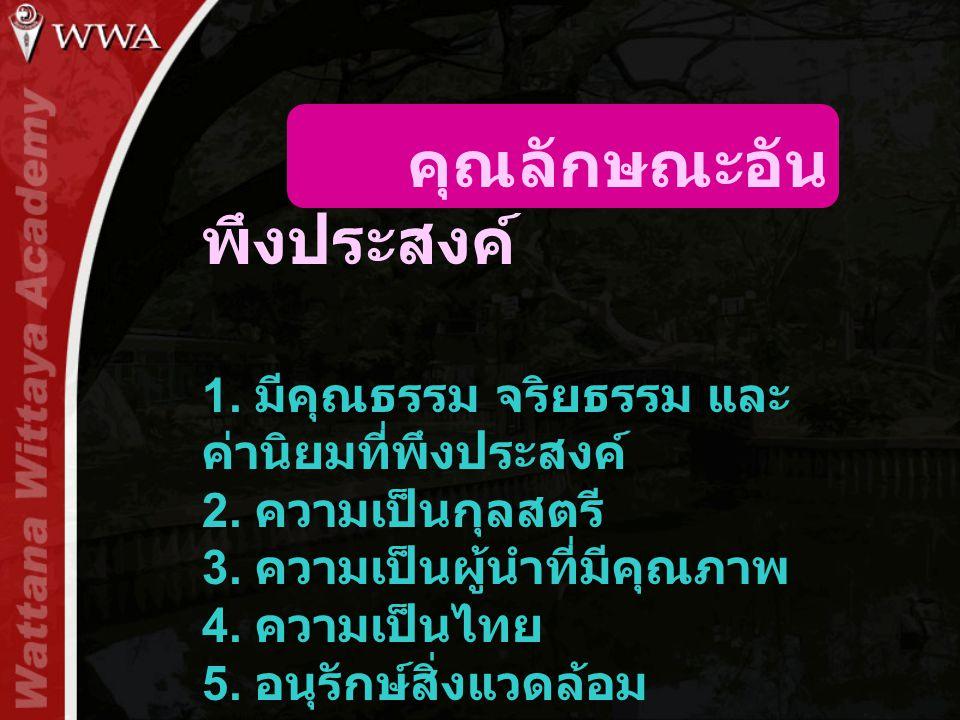 คุณลักษณะอัน พึงประสงค์ 1. มีคุณธรรม จริยธรรม และ ค่านิยมที่พึงประสงค์ 2. ความเป็นกุลสตรี 3. ความเป็นผู้นำที่มีคุณภาพ 4. ความเป็นไทย 5. อนุรักษ์สิ่งแว