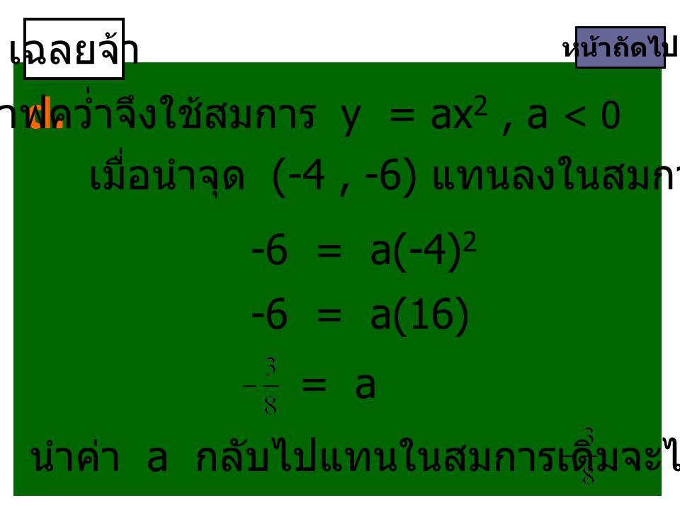 เฉลยจ้า หน้าถัดไป d. กราฟคว่ำจึงใช้สมการ y = ax 2, a < 0 เมื่อนำจุด (-4, -6) แทนลงในสมการจะได้ -6 = a(-4) 2 -6 = a(16) = a นำค่า a กลับไปแทนในสมการเดิ
