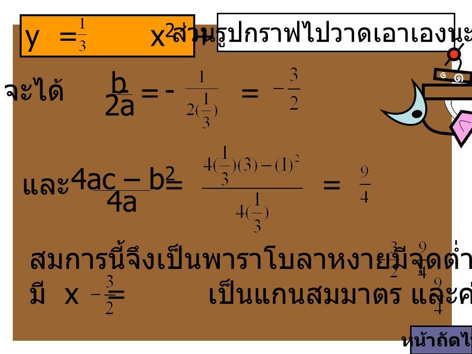 y = x 2 + x + 3 ส่วนรูปกราฟไปวาดเอาเองนะจ๊ะ ๑ ๑ สมการนี้จึงเป็นพาราโบลาหงายมีจุดต่ำสุดที่ (, ) มี x = เป็นแกนสมมาตร และค่าต่ำสุดของ y = จะได้ - b 2a 4