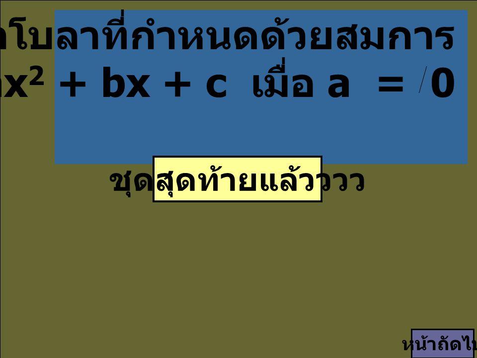 พาราโบลาที่กำหนดด้วยสมการ y = ax 2 + bx + c เมื่อ a = 0 ๑ ๑ ชุดสุดท้ายแล้วววว หน้าถัดไป