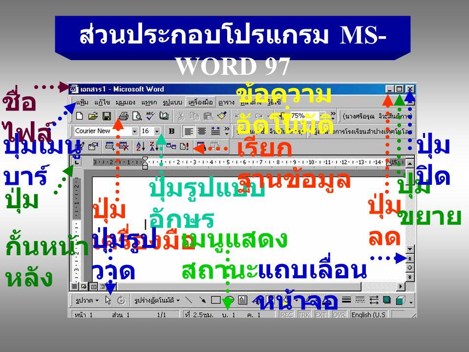 ส่วนประกอบโปรแกรม MS- WORD 97 ปุ่มเมนู บาร์ ปุ่ม เครื่องมือ ปุ่มรูปแบบ อักษร ปุ่ม ลด ปุ่ม ขยาย ปุ่ม ปิด ปุ่มรูป วาด เมนูแสดง สถานะ แถบเลื่อน หน้าจอ ชื่อ ไฟล์ เรียก ฐานข้อมูล ข้อความ อัตโนมัติ ปุ่ม กั้นหน้า หลัง