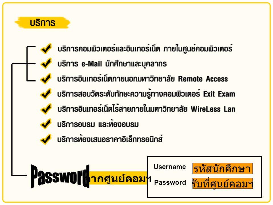 จากศูนย์คอมฯ Username Password รหัสนักศึกษา รับที่ศูนย์คอมฯ