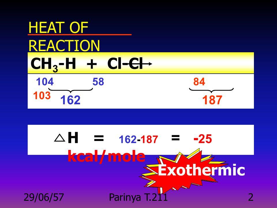 29/06/57Parinya T.21112 ลำดับการ เปลี่ยนแปลง : Reactants transition state products E a ct Reactan ts Produ cts Potential energy Progress of reaction H transition state