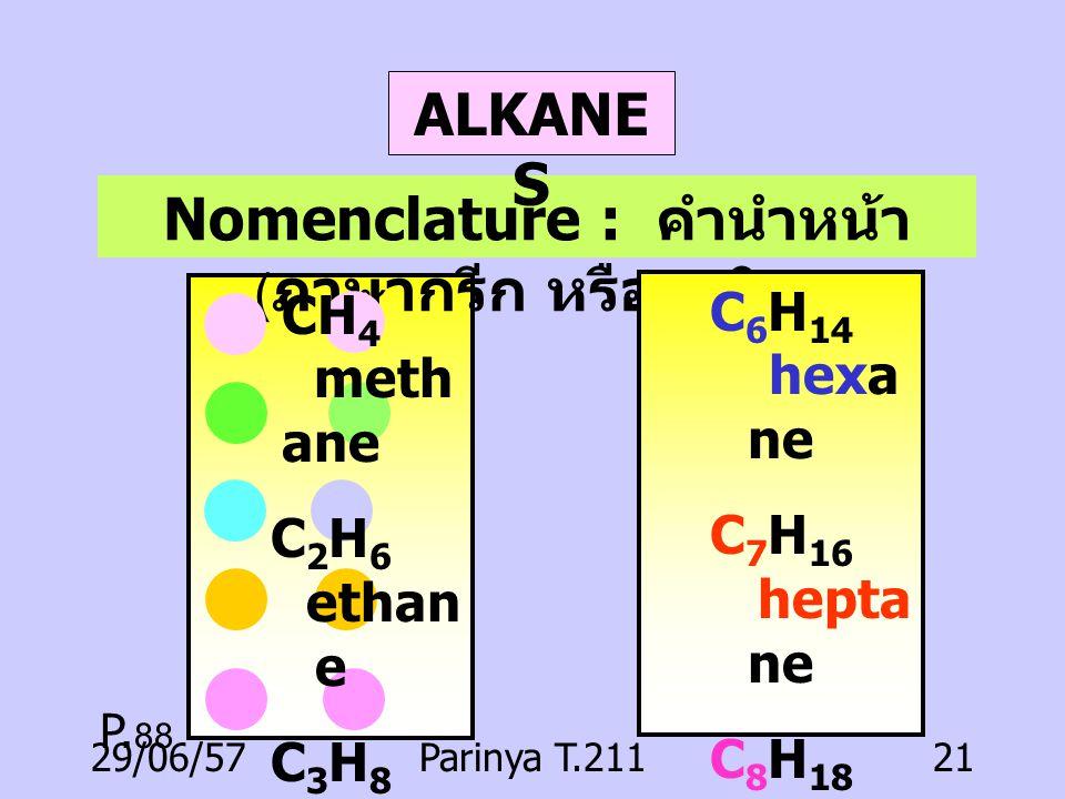 29/06/57Parinya T.21120 Alkanes Alkenes Alkynes Cyclic aliphatic Aliphatic Aromatic HYDROCARBONS
