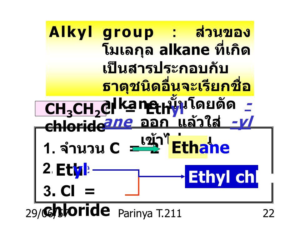 29/06/57Parinya T.21121 Nomenclature : คำนำหน้า ( ภาษากรีก หรือละติน ) C 6 H 14 hexa ne C 7 H 16 hepta ne C 8 H 18 octan e C 9 H 20 nona ne C 10 H 22