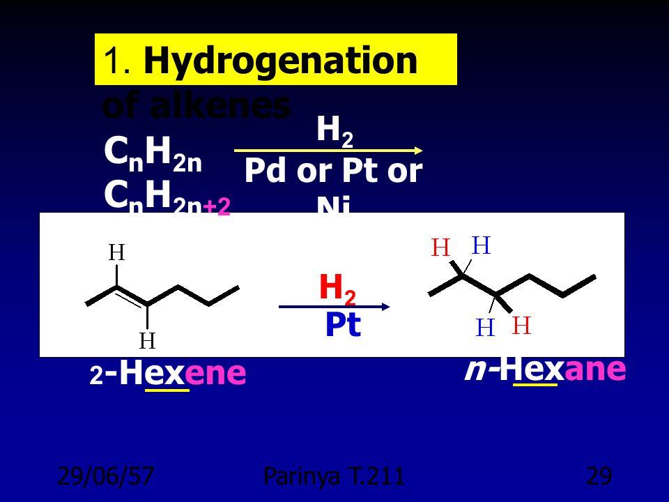 29/06/57Parinya T.21128 PREPARATION OF ALKANES 1. Hydrogenation of alkenes 2. Reduction of alkyl halides 3. Coupling of alkyl halides with organometal