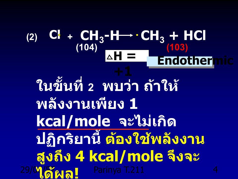 29/06/57Parinya T.2113 +1+1 (2) Cl + CH 3 -H CH 3 + HCl (1) Cl-Cl 2 Cl H = +58 kcal (58) H = Cl (3) CH 3 + Cl-Cl CH 3 -Cl + H = - 26 Endoth ermic Exot