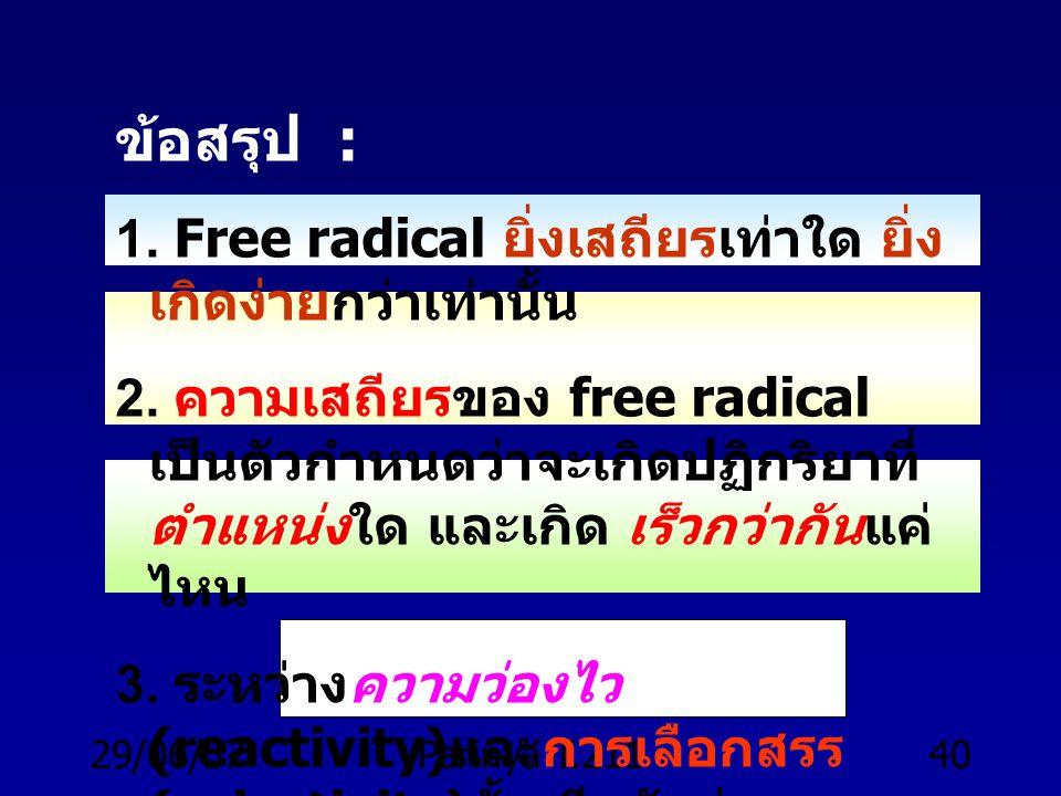 29/06/57Parinya T.21139 ความง่ายในการดึง H ออกจาก R : 3 o > 2 o > 1 o > CH 4 ความง่ายในการสร้าง free radical : 3 o > 2 o > 1 o >.CH 3 ความเสถียรของ fr