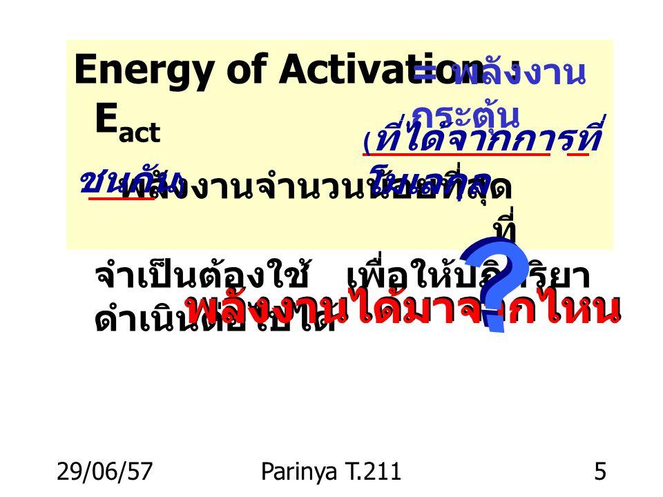 29/06/57Parinya T.2115 Energy of Activation : E act พลังงานจำนวนน้อยที่สุด ( ที่ได้ จากการที่โมเลกุลชนกัน ) ที่ จำเป็นต้องใช้ เพื่อให้ปฏิกริยา ดำเนินต่อไปได้ = พลังงาน กระตุ้น พลังงานได้มาจากไหน ( ที่ได้จากการที่ โมเลกุล ชนกัน )