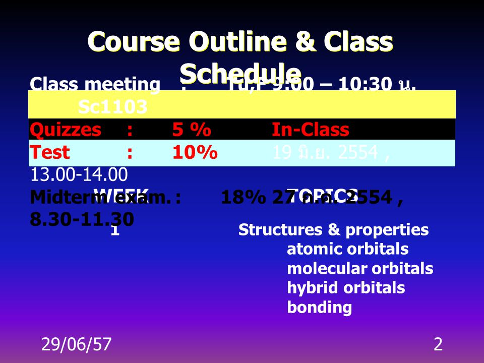 2 WEEKTOPICS 1Structures & properties atomic orbitals molecular orbitals hybrid orbitals bonding Class meeting : Tu,F9:00 – 10:30 น.