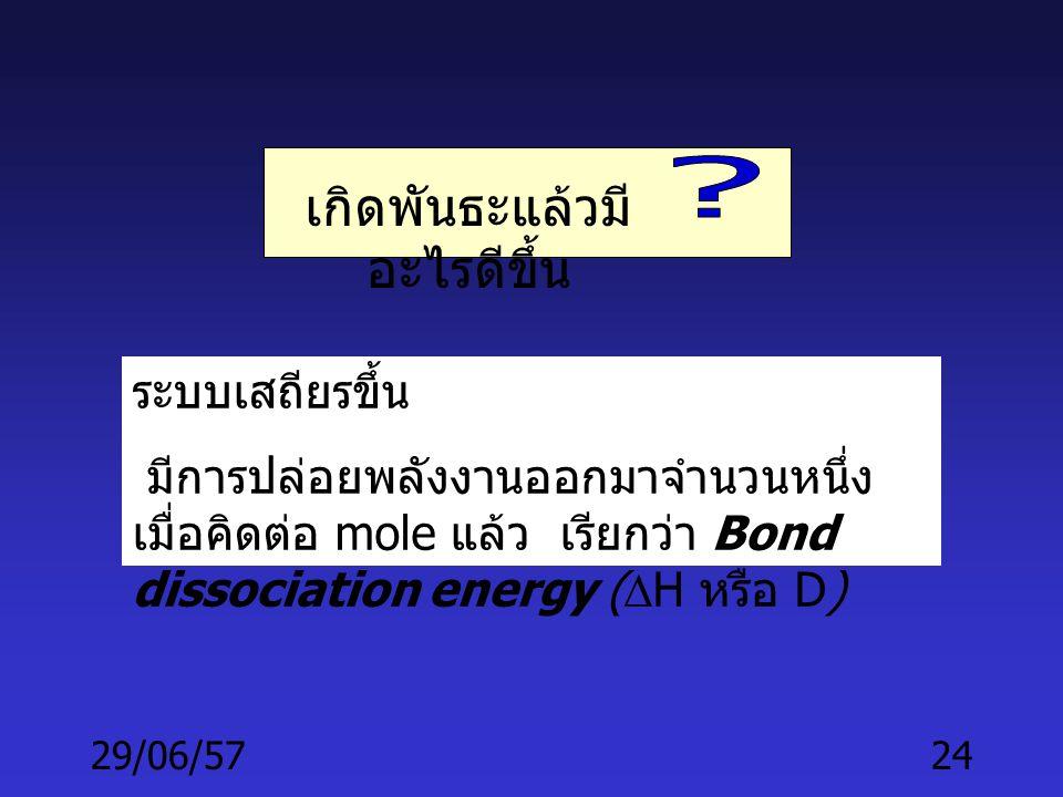 "29/06/5723 THE COVALENT BOND •Atoms ทั้งสองอยู่ในตำแหน่ง ที่ atomic orbitals จะ "" ซ้อนทับ "" (overlap) กันได้ • แต่ละ atomic orbital มี 1 อิเล็คตรอน •"