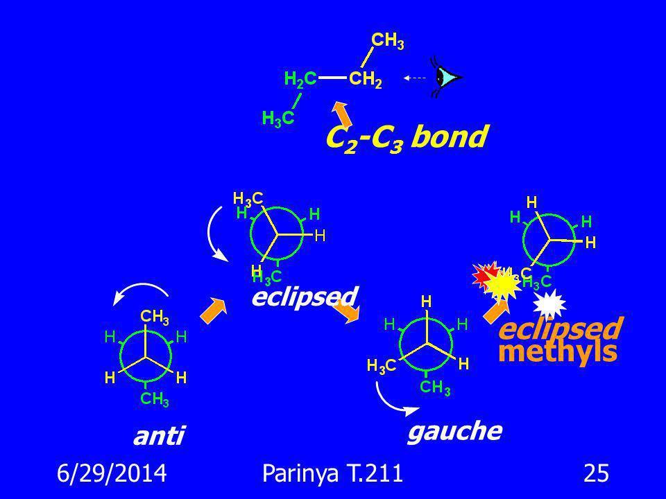 6/29/2014Parinya T.21124 Conformation แบบใดจะเสถียรกว่ากัน ? 3 kcal/mole E การหมุนของ C-C bond ของ ethane ผลักกัน eclipsed staggered eclipsed
