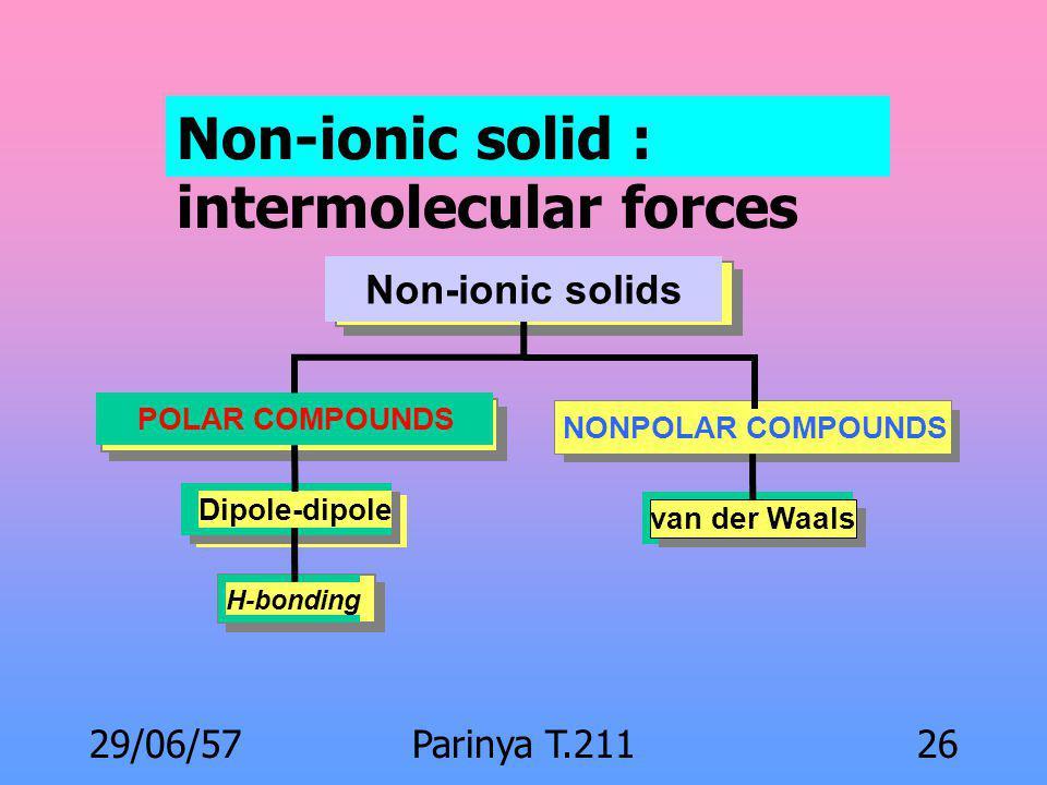 29/06/57Parinya T.21125 คุณสมบัติเชิงกายภาพและ โครงสร้าง Melting point Ionic solid : interionic force