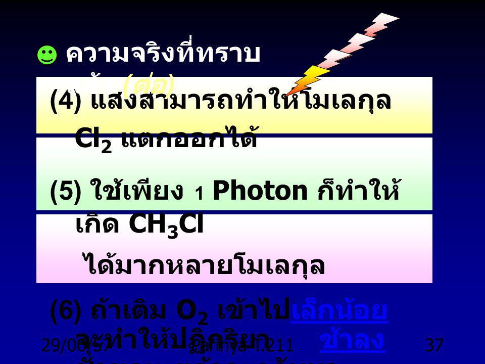 29/06/57Parinya T.21136 Mechanism of Chlorination : Free radicals ความจริงที่ทราบแล้ว ( จากการทดลอง ) (1) CH 4 กับ Cl 2 ไม่ทำปฏิกริยาในที่มืด ( อุณหภูมิห้อง ) (2) แต่ถ้าร้อนถึง 250 o C จะเกิดปฏิกริยา ( แม้จะมืด ) (3) ถ้าใช้แสง (UV) จะเกิดปฏิกริยา ( อุณหภูมิห้อง )