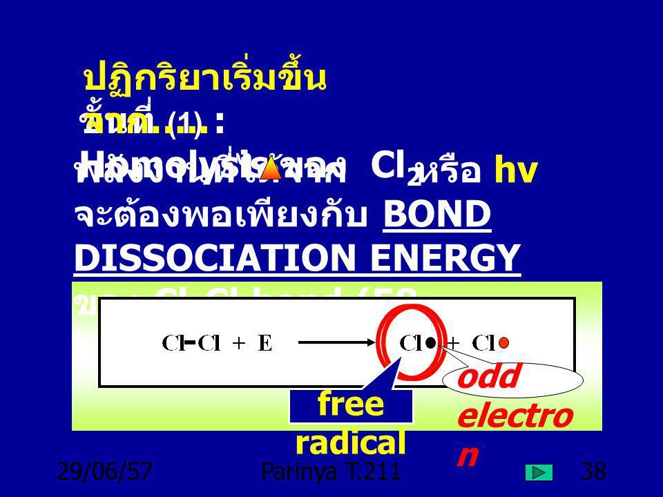 29/06/57Parinya T.21137 (4) แสงสามารถทำให้โมเลกุล Cl 2 แตกออกได้ (5) ใช้เพียง 1 Photon ก็ทำให้ เกิด CH 3 Cl ได้มากหลายโมเลกุล (6) ถ้าเติม O 2 เข้าไปเล็กน้อย จะทำให้ปฏิกริยา ช้าลง ชั่วขณะ แล้วจะกลับมา เหมือนเดิมอีก ความจริงที่ทราบ แล้ว ( ต่อ )