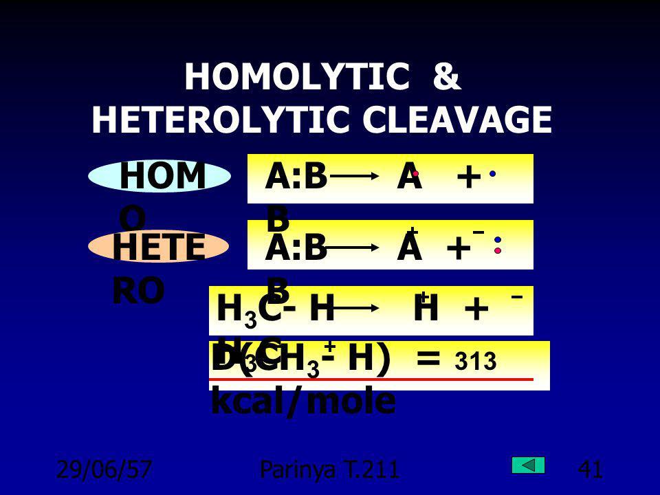 29/06/57Parinya T.21140 BOND ENERGY : E CH 4 C + 4 H H = 397 kcal/mole E(C-H) = 397/4 = 99 kcal/mole ข้อแตกต่าง !